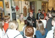 Lansing High School freshmen listen to a presentation about medical care problems while visiting the National World War I Muesum. Students visited the museum to do research for a project that is required of all the freshmen.