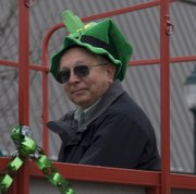Don Pelzl was this year's Grand Leprechaun. Pelzl started the parade and then road in the last trailer to finish the parade. The trailer held previous grand leprechauns from the last 20 years, which is how long the parade has been held annually.