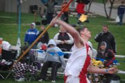 Tonganoxie High senior Gabe Belobrajdic heaves the javelin on Friday at the Kansas Relays in Lawrence.