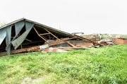 This barn on Andy and Stephanie Maurer's property in southern Leavenworth County did not survive overnight high winds that caused damage throughout the area.