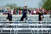 Kaitlyn Barnes, center, Baldwin Junior High School seventh grader, won the 100-meter hurdles Saturday at the Frontier League meet in Gardner. Barnes also won the 800-meter and 1,600-meter runs. There will be a full story on the meet in Thursday's Signal.