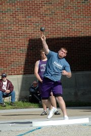 Baldwin High School senior Anthony Ciambrone releases the shot put during one of his throws.