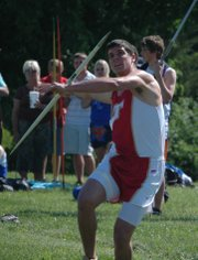 Gabe Belobrajdic won the boys javelin for Tonganoxie.
