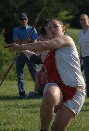 Roxi Grizzle won the girls javelin after upsetting her younger sister Roni for the girls shot put title.