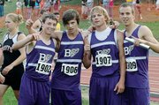 Baldwin High School won the Class 4A boys' 1,600-meter relay Saturday night to end the state meet. BHS ran 3:25.42. Team members were, from left, freshman Carson Barnes, junior Ryan Kennedy, senior Dustin Schiller and senior Kyle Smith.