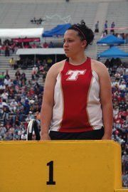Roxi Grizzle prepares to take the podium after winning her second straight state title in the javelin.