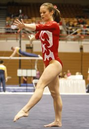 Kaylan Clevinger performs her floor exercise routine this season for Ohio State. Clevinger is a Shawnee resident.