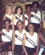 The 1980 team also won the Class 5A state championship, despite just having seven team members. The state team consisted of, from left, front row: Nina Kimbrough, Jonetta Kimbrough and Suffren; and, back row: Chris Seaton, McGraw, Diane Sanders and Chambers.