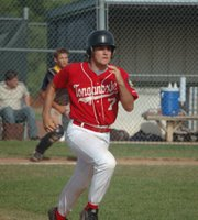 Post 41 leadoff hitter James Bailey sprints down the first-base line on Sunday at Leavenworth County Fairgrounds.