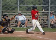 Pat Gallagher hits an RBI-single for Post 41 on Sunday at Leavenworth County Fairgrounds. Gallagher hopes his success this summer will lead to a breakout season next year at Tonganoxie High.