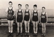 Lansing's 1945 grade-school basketball team. The players are Bill Krause, 77; Wayne Seymour, 99; Bill Young, 66; Don McQuillan, 88; and Charlie Seymour, 55.