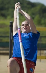 Mill Valley junior Ashley Bowman had her games face on Sunday during the pole vault competition.