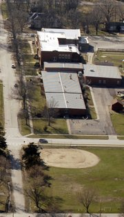 The area of land that contains the District Office and Baldwin Elementary School Primary Center was discussed at Monday's Baldwin Board of Education meeting.