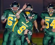The Basehor-Linwood Bobcats were jubilant following a one-yard TD run from quarterback Brandon Leppke lat in the first quarter.