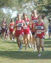 The Lansing High girls ran as a pack at Rim Rock Farm and placed second as a team.