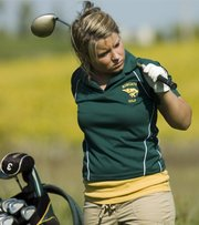 Chantal Williams watches other players tee off Thursday in the Basehor-Linwood Girls Golf Invitational.