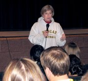 Rep. Nancy Boyda talks with Basehor-Linwood High School students Friday.