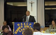 Reginald Davis, a Kansas City, Kan., attorney, speaks  at the NAACP Bonner Springs  Chapter's 51st annual banquet at Savior Pastoral Center, 12601 Parallel Pkwy.