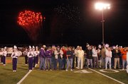 A total of 54 area veterans attended Friday's ceremony at the Baldwin High School football game. Here fireworks light up the sky south of Liston Stadium at the end of the ceremony.