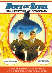 The cover of Marc Tyler Nobleman's book shows the creators of Superman. Nobleman spoke to Tonganoxie High School students about his work Thursday.