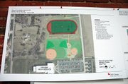 Preliminary designs for the practice track and athletic complex north of Baldwin High School.