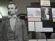 Photos of Abraham Lincoln were used by author Carol Ayres during her presentation Thursday at the Basehor Historical Museum.