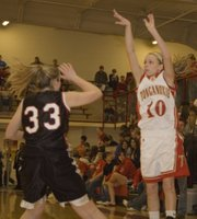 Lauren Hall launches a three-pointer during Tonganoxie High's 47-42 victory over Bishop Ward on Friday.