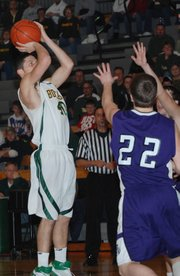 Basehor-Linwood senior Chandler Schaake pulls up for a jump shot during the Bobcats' rout of Royal Valley on Monday in the first round of the Class 4A sub-state tournament.