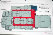 Architect's sketches of the Baldwin Junior High School corridor and roof renovations.