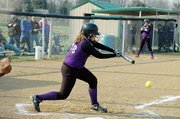 Baldwin High School sophomore Morgan Burton lays down a bunt Tuesday afternoon.