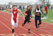 DJ Lindsay wins a 100-meter prelim for Tonganoxie High at Basehor-Linwood on Thursday. Lindsay won the 200-meter dash at the Lansing Invitational on April 7.