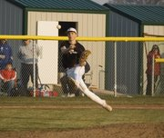 Ethan Lorance, Tonganoxie third baseman, throws to first for an out in the Chieftains' 8-7 victory over Jeff West on April 7.