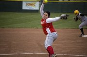 Tonganoxie junior pitcher Angela Jacobs delivers during the Chieftains' loss to Basehor-Linwood on Thursday.