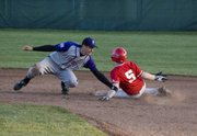 Jon Harris steals second base in the second inning of Tonganoxie's 4-3 win over Piper.