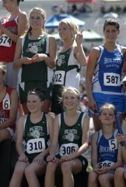 The De Soto girls 4x800-meter relay team of Lacey Erickson, Shelbi Petty, Ellie Sheridan and Beth Reichenberger finished third with a time of 9:54.26 at the Class 4A state track meet in Wichita.