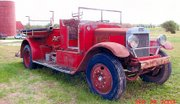 This picture of the fire truck was taken before its restoration in 2003.