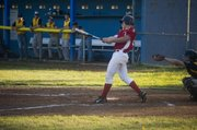 Mark Stewart singles in the second inning for Tonganoxie on Tuesday night at Leavenworth. Stewart was one of four Post 41 players to have a multi-hit game in the team's 9-8 win over Easton in the league final.