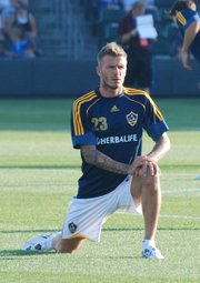 Los Angeles Galaxy star David Beckham was a big draw — even for warm-ups — at Saturday's Kansas City Wizards game at CommunityAmerica Ballpark.