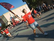 The Tonganoxie High School color guard performs during the parade.