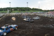 Saturday night's main event was the annual demolition derby.