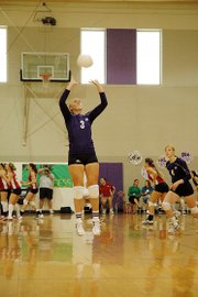 Baldwin High School senior Taylor Brown (No. 3) jumps to make a set Saturday during the Bulldogs' home tournament.