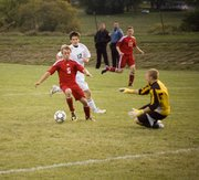 Jake Willis leads a Tonganoxie High attack during the first half of the Chieftains' 4-0 loss at Basehor-Linwood on Wednesday.