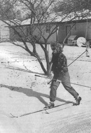 On Jan. 9, 1999, Pam Jeannin took advantage of some snow and made her way around town in her cross country skis.