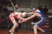 Thomas Miller, 160-pound Tonganoxie freshman, won his match against Perry-Lecompton on Thursday to help the Chieftains secure a clean sweep in the dual.