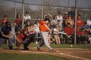 Bonner Springs leadoff hitter Shawn Jones makes contact against Tonganoxie in the Braves' 10-7 win at Leavenworth County Fairgrounds on Wednesday.