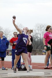Baldwin High School freshman Katie Kehl set a school record in the girls' shot pu with this throw. Her mark of 39 feet, 6.5 inches helped her win the event.