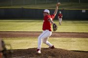 AJ Gilbert delivers a pitch for Tonganoxie on Wednesday against Bonner Springs. Gilbert threw three innings of relief in a 10-7 loss.