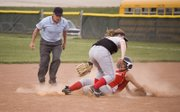 Tonganoxie High senior McKenzie Knight slides safely into second base for a steal in the bottom of the seventh inning against Jeff West on Thursday. The Chieftains split a twinbill with the Tigers, losing 6-2 and winning 15-14.