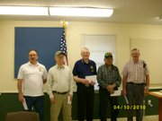 Several members of the Olsen-McGraw-Thompson-Goins Veterans of Foreign Wars Post 6401 were recognized for their long-term dedication to the post at a dinner and meeting April 10. Pictured are (from left) Don Norman, Larry Hollenbeck, Jim Jenkins, Peter Gomez and Sam Summers.