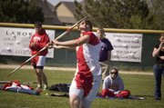 THS senior Richie Ridihalgh makes his approach on a javelin throw Friday at Piper.